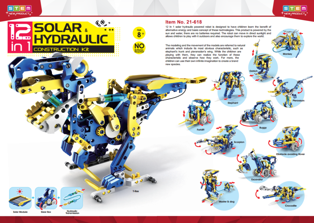 12 in 1 Solar Hydraulic Construction kit