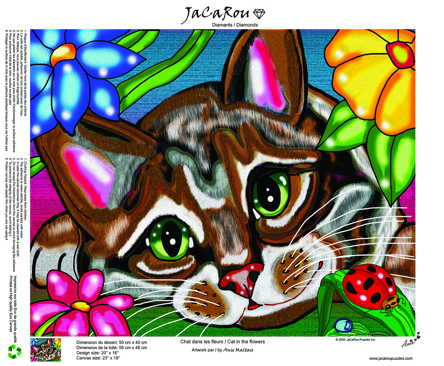 CAT IN THE FLOWERS 20 X 16 Diamond painting