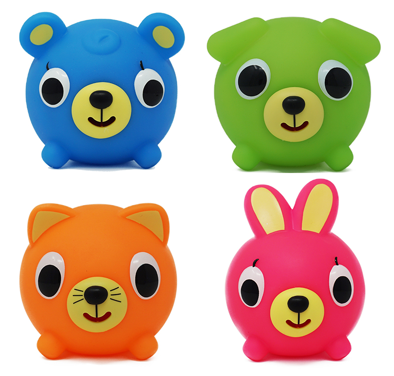NEON Jabber Ball ASSORTED PACK 12 - Orange Cat 12 - Green Dog 12 - Pink Bunny 12 - Blue Bear