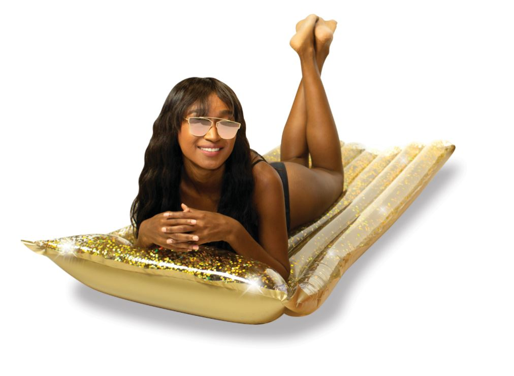 "Glitter Pool Raft with Pillow 72""- Gold Glitter"