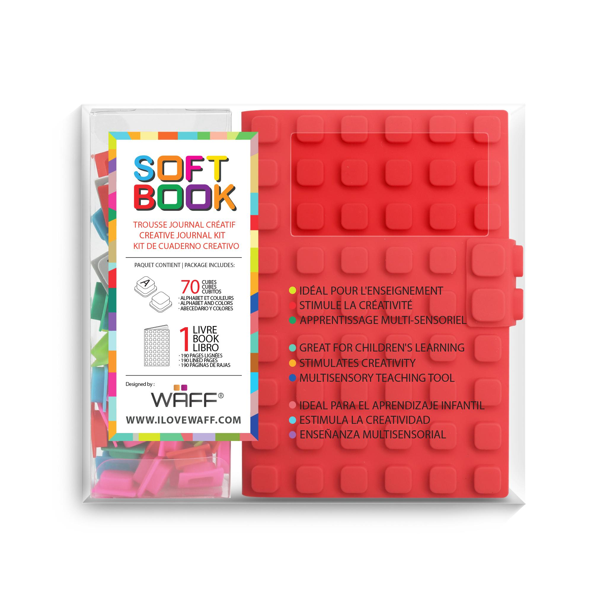 WAFF soft book Red medium with cubes