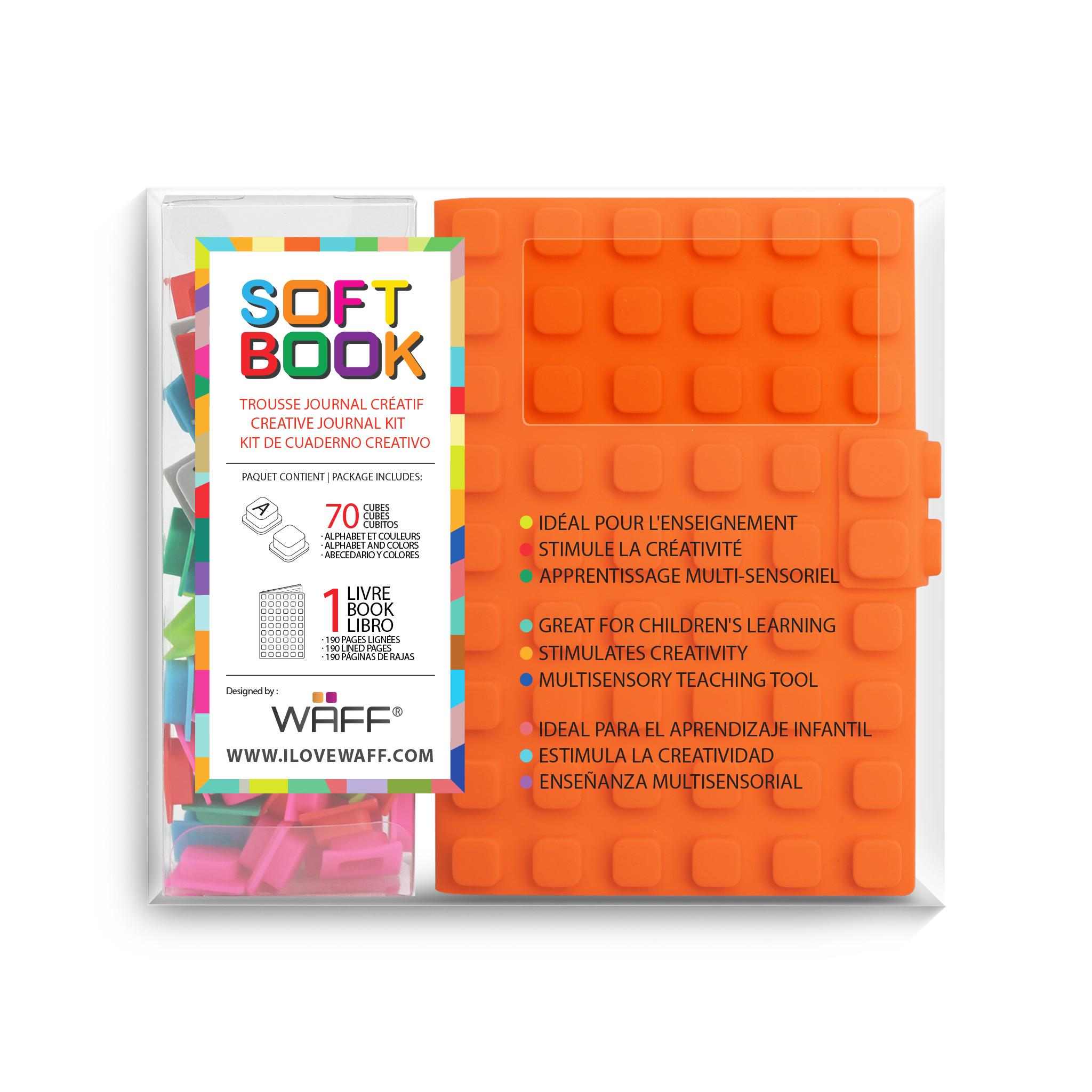 WAFF soft book Orange medium with cubes