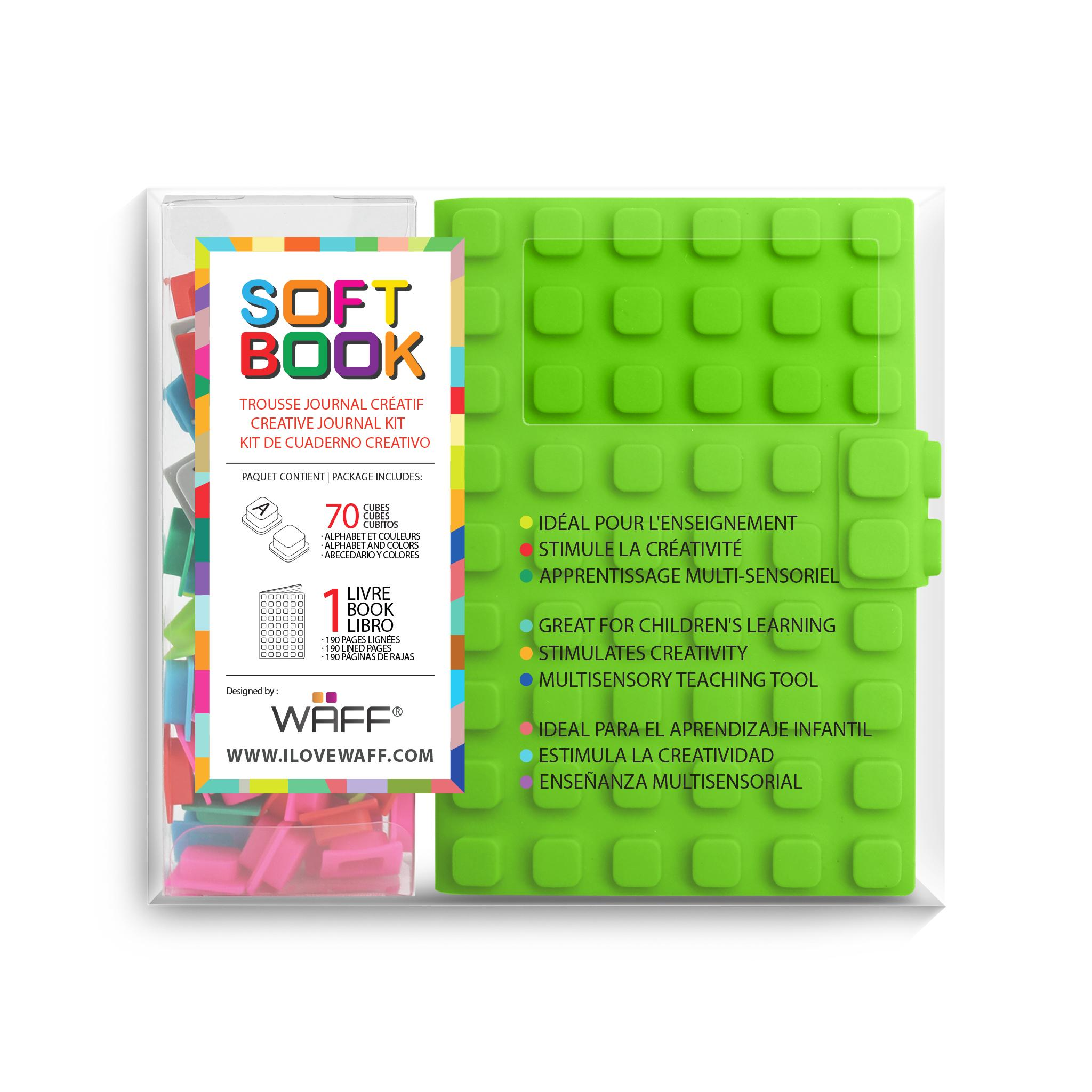WAFF soft book Green medium with cubes