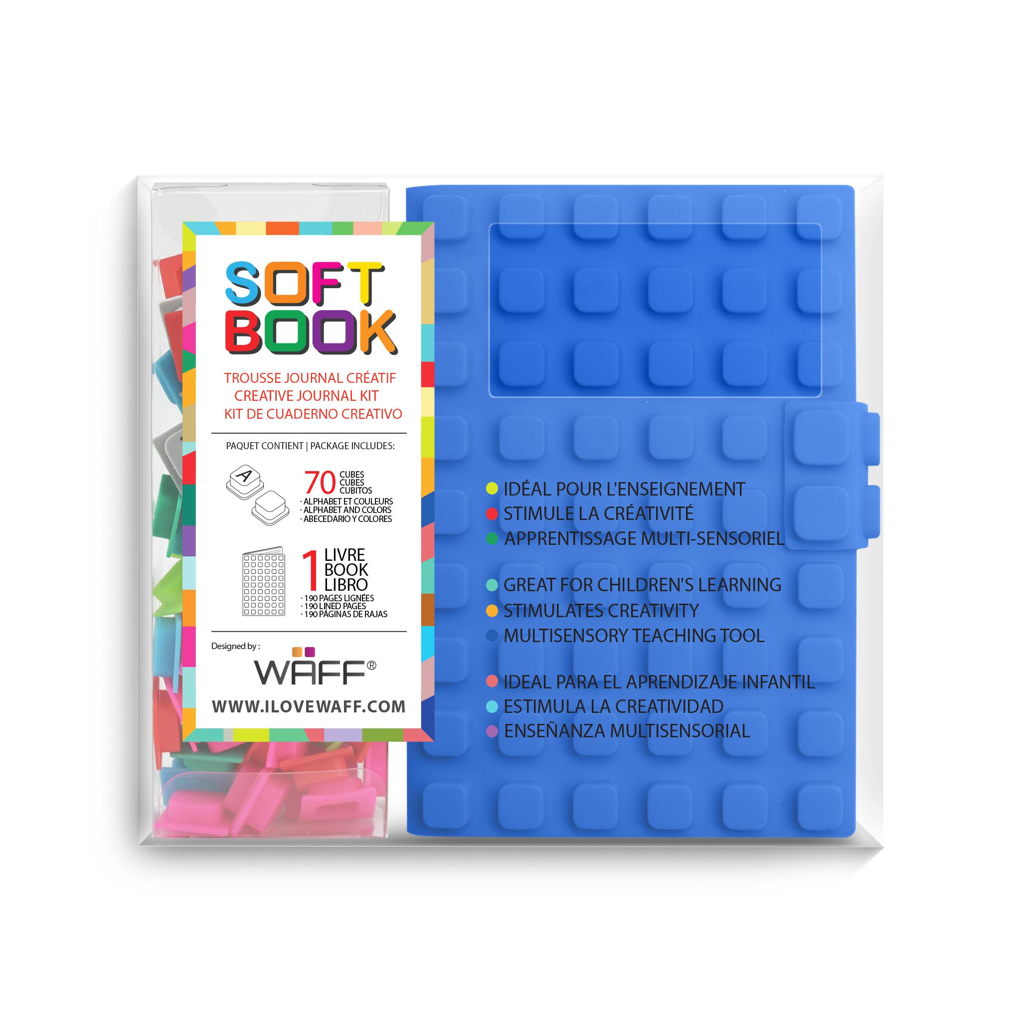 WAFF soft book Blue medium with cubes