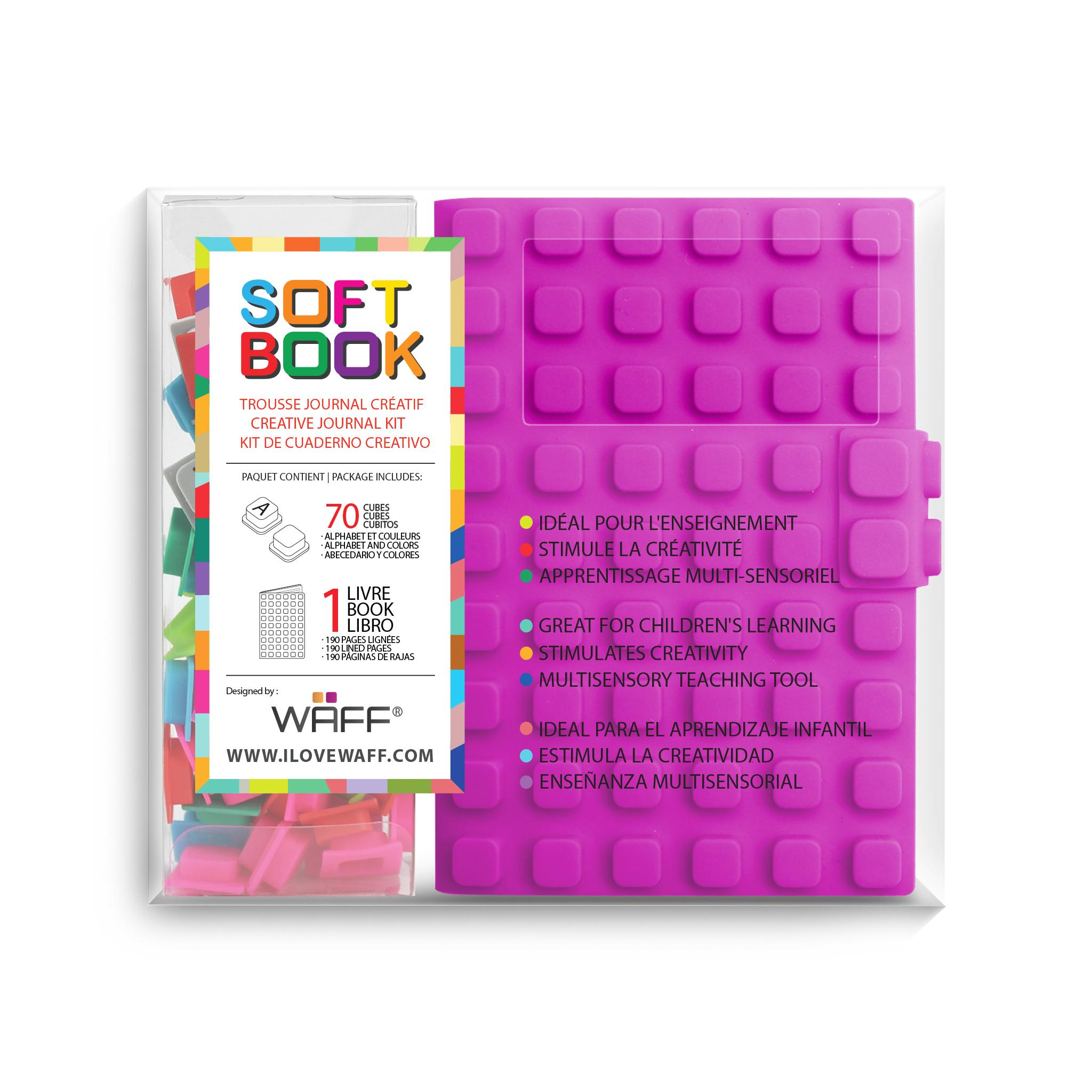 WAFF soft book Purple medium with cubes